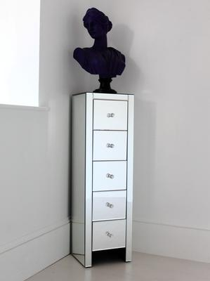Ultra Thin Mirrored Tallboy Chest Five Drawers image 4