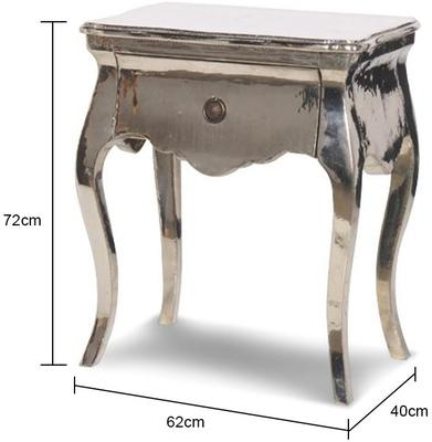 Shiny Metal Finish One Drawer Cabinet French Style image 2