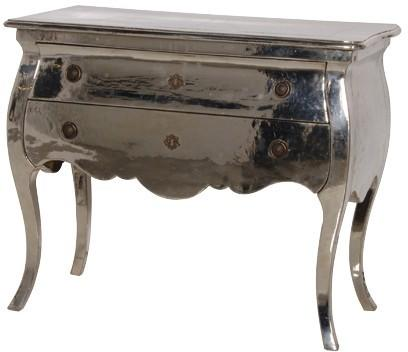 Metal Finish Chest Of Drawers Chrome French Design