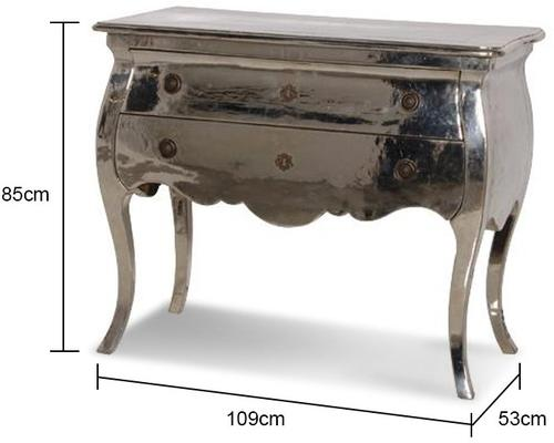 Metal Finish Chest Of Drawers Chrome French Design image 2