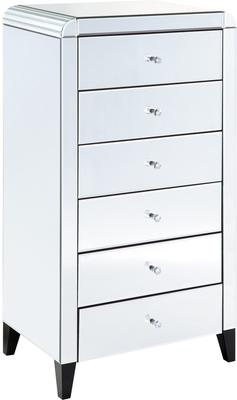 Six Drawer Mirrored Tallboy With Bevelled Corners