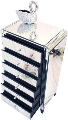 Six Drawer Mirrored Tallboy With Bevelled Corners image 2