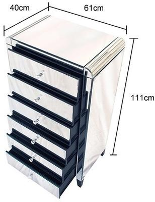 Six Drawer Mirrored Tallboy With Bevelled Corners image 3
