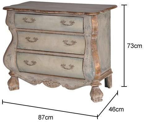 Distressed Black Three Drawer Chest Chunky French-Style image 2