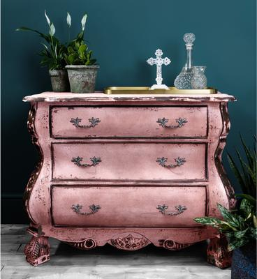 Distressed Black Three Drawer Chest Chunky French-Style image 3