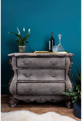 Distressed Black Three Drawer Chest Chunky French-Style image 4