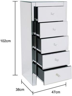 Five Drawer Mirrored Tallboy image 3