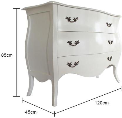 Curvy French Large Three Drawer Chest in Pearlescent Creamy White image 5