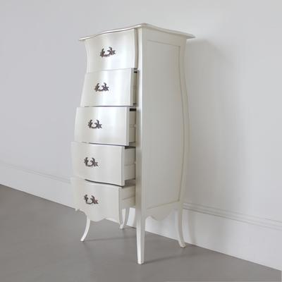 Curvy French Five Drawer Tallboy Chest in Pearlescent Creamy White image 2