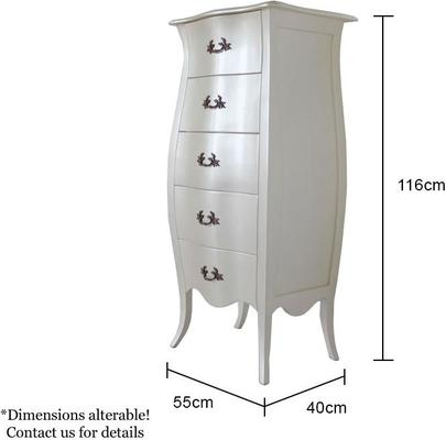 Curvy French Five Drawer Tallboy Chest in Pearlescent Creamy White image 4