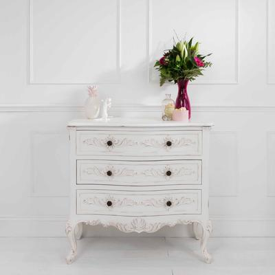 Classic French Four Drawer Chest in Antique White