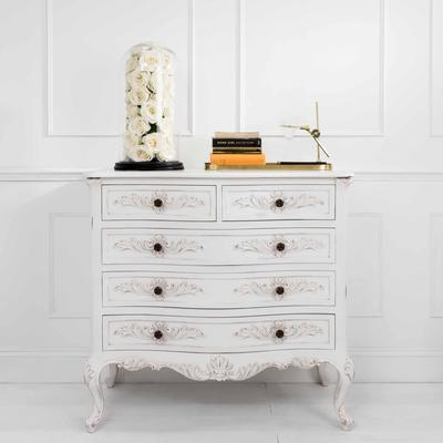 Classic French Five Drawer Chest in Antique White image 5