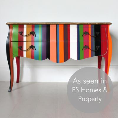 French Stripy Chest of Drawers Multicolour image 2