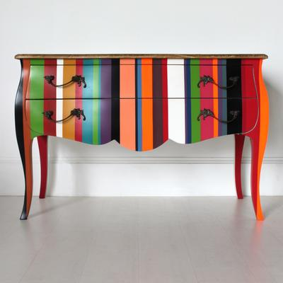 French Stripy Chest of Drawers Multicolour