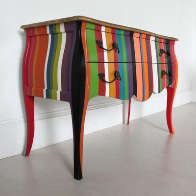 French Stripy Chest of Drawers Multicolour image 3