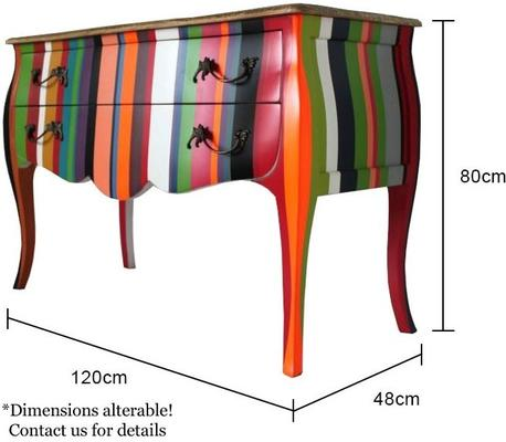 French Stripy Chest of Drawers Multicolour image 4