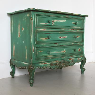 French Three Drawer Chest of Drawers Distressed Green image 2