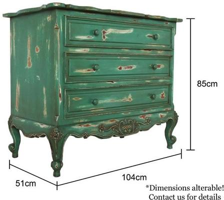 French Three Drawer Chest of Drawers Distressed Green image 3
