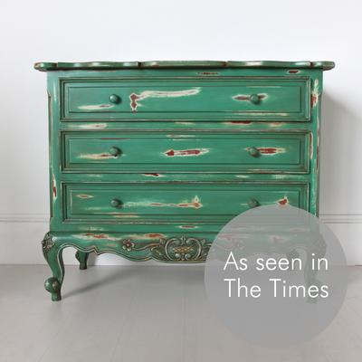 French Three Drawer Chest of Drawers Distressed Green