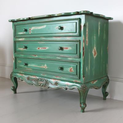 French Three Drawer Chest of Drawers Distressed Green image 4