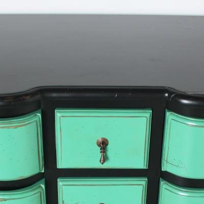 French Nine Drawer Chest with Turquoise Drawers Black Frame image 2