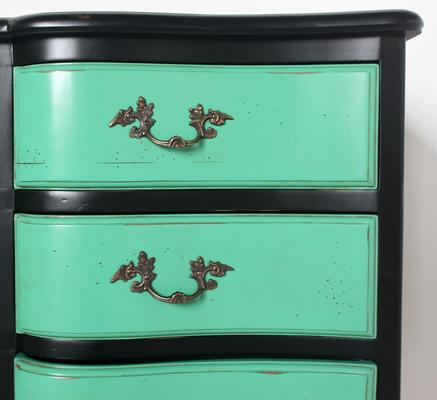 French Nine Drawer Chest with Turquoise Drawers Black Frame image 3