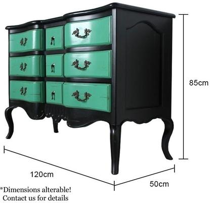 French Nine Drawer Chest with Turquoise Drawers Black Frame image 5