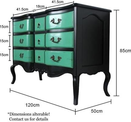 French Nine Drawer Chest with Turquoise Drawers Black Frame image 6