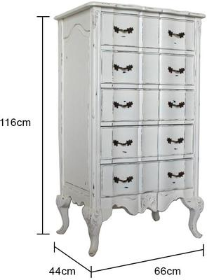 Ripple French-Style Five Drawer Tallboy Chest image 5