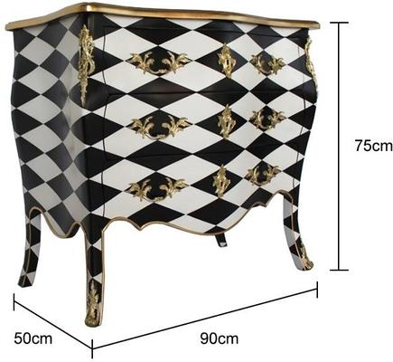 French Harlequin Design Three Drawer Chest Black and White image 2