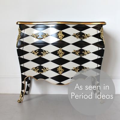 French Harlequin Design Three Drawer Chest Black and White image 3
