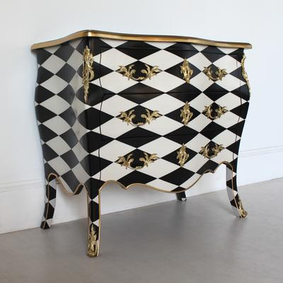 French Harlequin Design Three Drawer Chest Black and White image 4