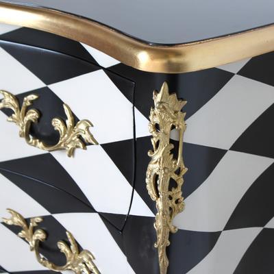 French Harlequin Design Three Drawer Chest Black and White image 5