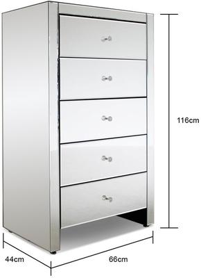 Large tallboy 5 drawer mirrored chest image 2