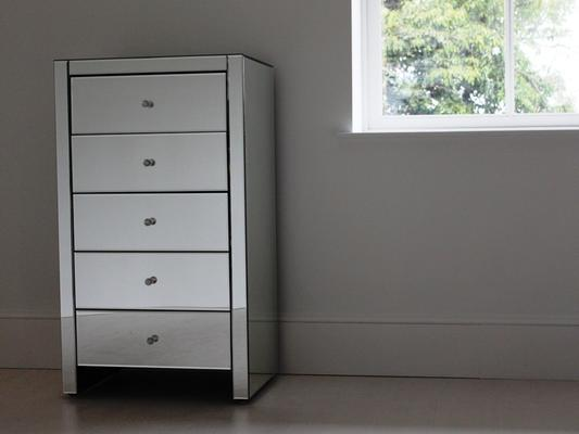 Large tallboy 5 drawer mirrored chest image 3