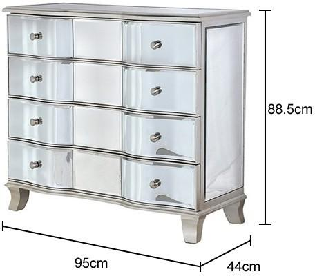 Venetian Bow Fronted 4 Drawer Chest image 4