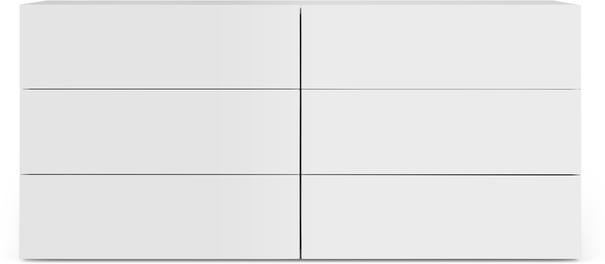 TemaHome Aurora Modern 6 Drawer Chest - Matt White or Walnut