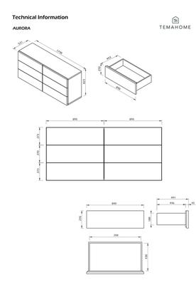 TemaHome Aurora Modern 6 Drawer Chest - Matt White or Walnut image 11
