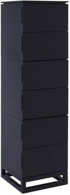 Cordoba Modern Tall Chest of 6 Drawers - Black Wenge