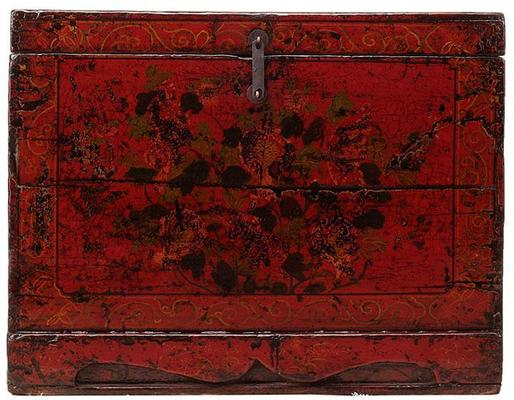 Floral Red Painted Chinese Chest image 2