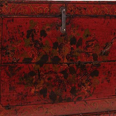 Floral Red Painted Chinese Chest image 3