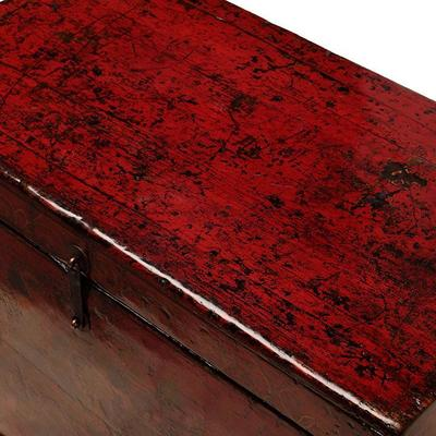 Floral Red Painted Chinese Chest image 4