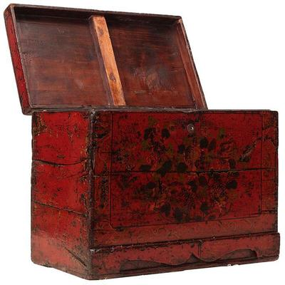 Floral Red Painted Chinese Chest image 5