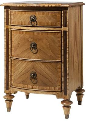 Spire Vintage Walnut Wooden Bedside Cabinet Three Drawers