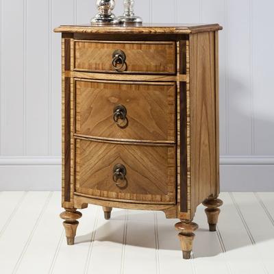 Spire Vintage Walnut Wooden Bedside Cabinet Three Drawers image 2
