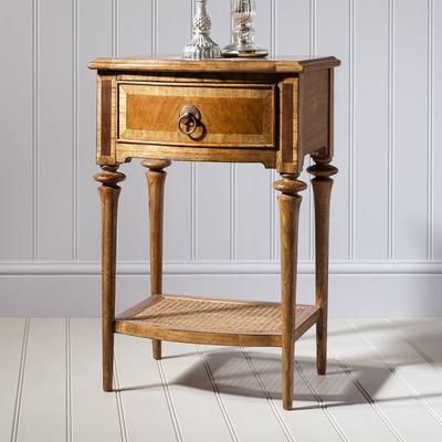 Spire Antiqued Wooden One Drawer Bedside Table image 2