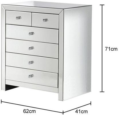 Six Drawer Mirrored Glass Chest image 2