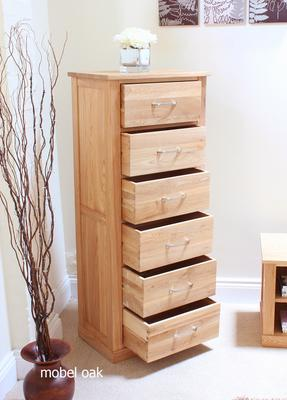 Mobel Oak Tallboy Modern Design - 6 Drawers