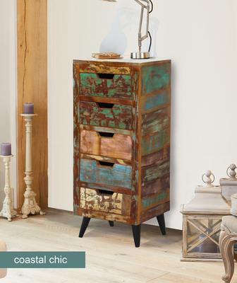 Coastal Chic 5 Drawer Tallboy Reclaimed Timber
