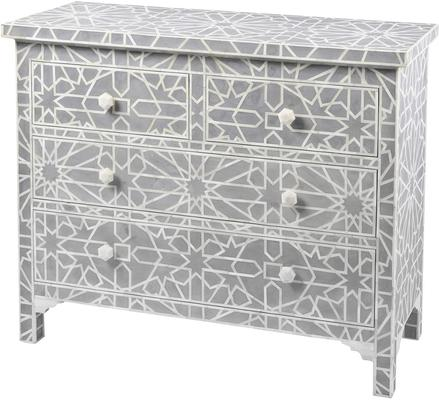 Floreat Mottled Blue Grey Bone Inlaid 4 Drawer Chest